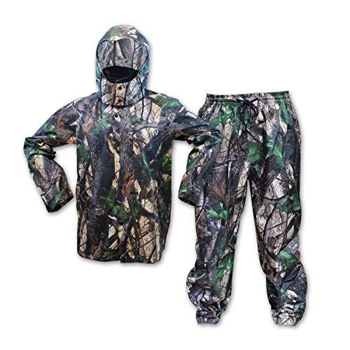 KwikSafety (Charlotte, NC Huntsman Camouflage Hunting RAIN Suit | All Year Outdoor Recreational Wear Waterproof Windproof Quick Dry Long Sleeve Hood Zip Up Bottom Fishing Shooting Camo Gear | Large (Rain Gear Hunting)