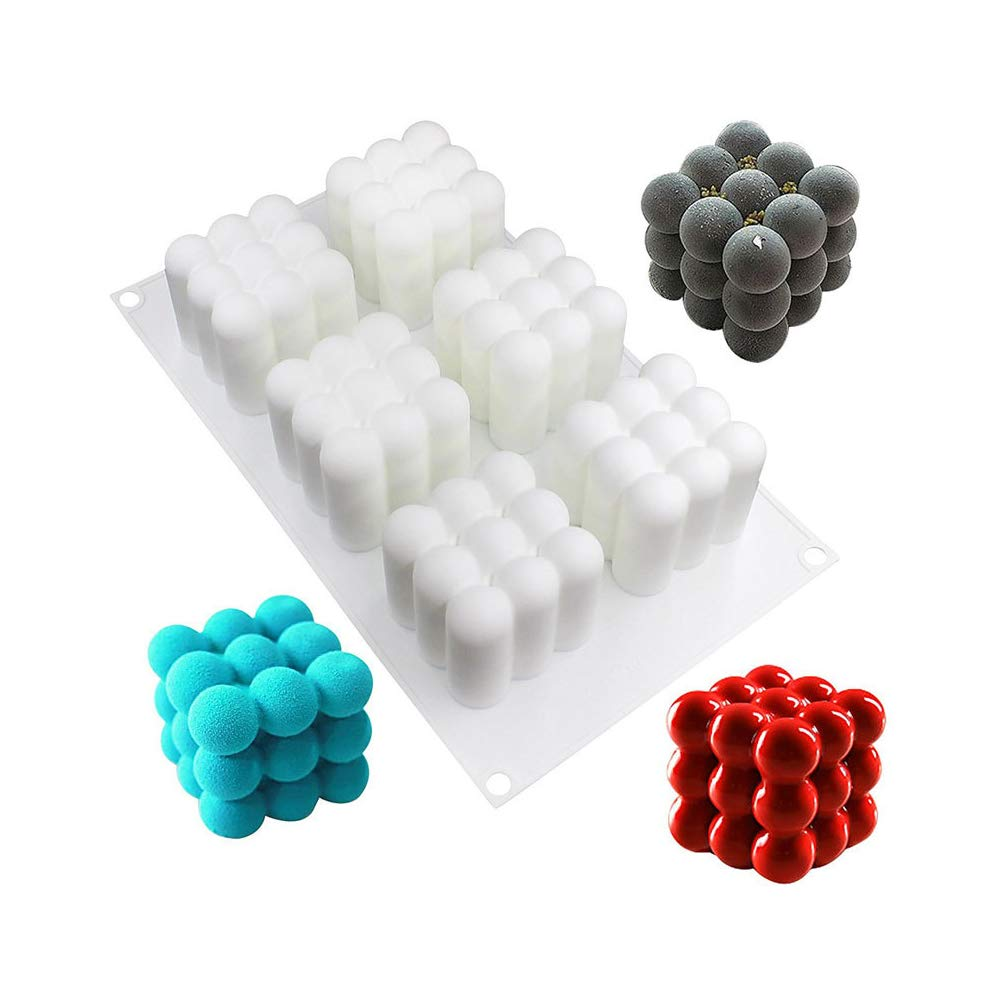 Kuchen-Backen-Form Schokolade wei/ß 6 Cavities 3D Rubiks W/ürfel-Form-DIY-Kuchen-Form-Silikon-Kuchen-Backen-Form des Nahrungsmittelgrad Silikon Formen Non-Stick Eis-W/ürfel-Form S/ü/ßigkeiten Gelee
