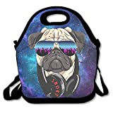 DJ Pug Rock Lunch Bag Tote Handbag Lunchbox Food Container Tote Cooler Warm