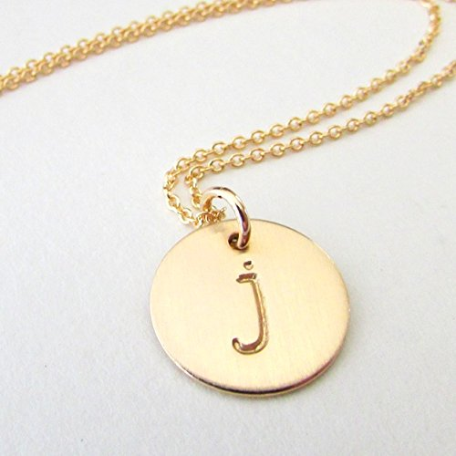 Gold Initial Necklace   Lowercase Typewriter Letter Charm   14K Gold Filled Initial Jewelry   Hand Stamped Pendant