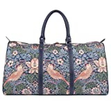Blue Floral William Morris Strawberry Thief Carry-on Overnight Weekender Duffel Travel Bag by Signare (BHOLD-STBL) For Sale