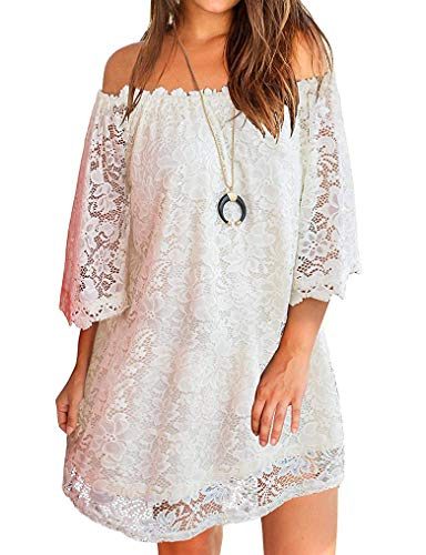 - OURS Juniors Short Strapless Lace Loose Dresses Plus Size White XXL