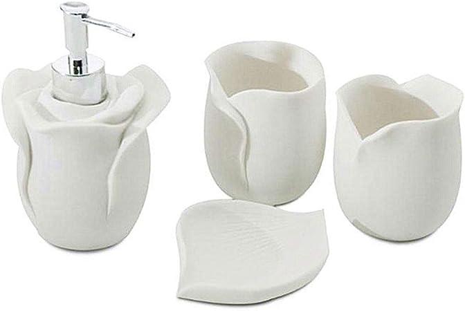 Accessori Per Bagno In Ceramica.Huij Set Di Accessori Per Il Bagno Set Accessori Bagno 4 Accessori Per Elegante Ceramica Composto Da Portasaponette Dispenser Sapone Liquido Tazza Amazon It Casa E Cucina
