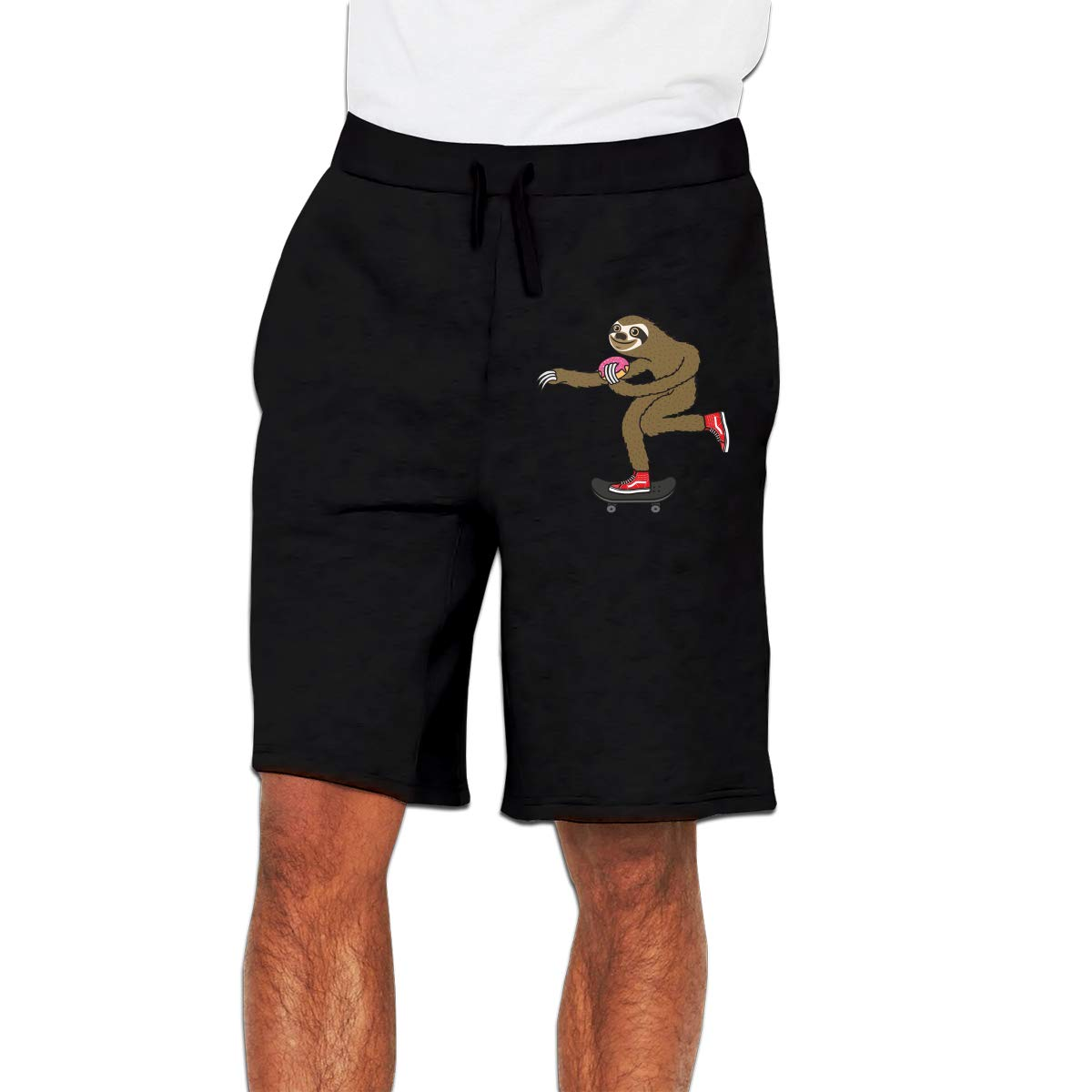 Mens Boardshorts Skater Sloth and The Donuts Patterned Swim Trunks