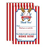 Baseball Home Run Themed Thank You Notes for Kids, Ten 4'' x 5.5'' Fill In the Blank Cards with 10 White Envelopes by AmandaCreation