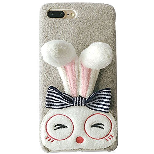 iPhone X Silicone Case (5.8 inch) Soft Crystal Foldable Long Ears Rabbit Doll-like with Cute Glasses Elegance Bowknot,Genuine Plush Fluffy Handmade Case Cover for iPhone X(Gray, iPhone X) ()