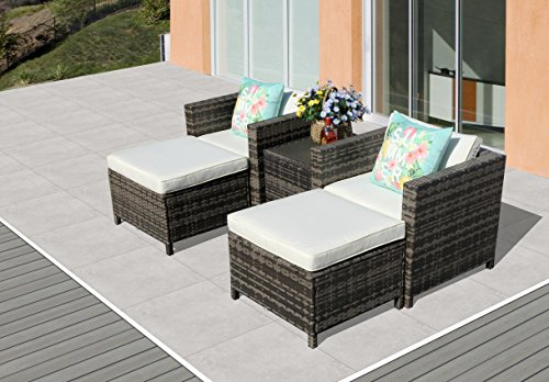PATIORAMA 5-Piece Patio Conversation Set Outdoor Chairs and Ottomans Sets PE Wicker Grey Rattan 5 Piece Patio Set, White Cushion & Storage Coffee Table