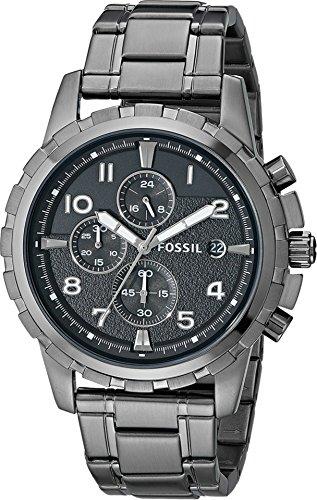 Fossil Mens Black Dial Watch (Fossil Dean FS4721 Stainless Steel Watch, Smoke)