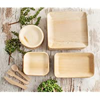 Party Plates and Cutlery Pack (200 items) - Eco Friendly Compostable Biodegradable Sturdy Heavy Duty Disposable Bamboo…