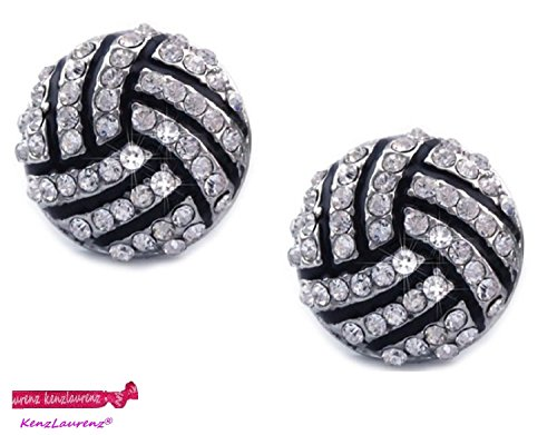 Kenz Laurenz Volleyball Earrings Studs - Crystal Rhinestone Post Silver Bling ()