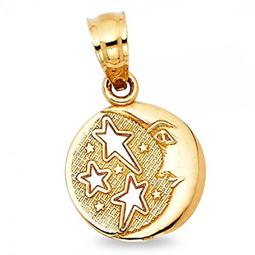 Solid 14k Yellow Gold Sun Moon Stars Pendant Fancy Charm Polished Diamond Cut Small 10 x 10 mm (Gold Diamond Moon Charm)