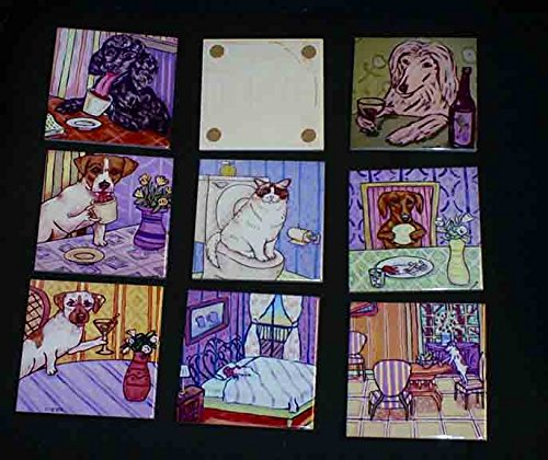 Norwich terrier playing piano music room decor dog art tile coaster gift