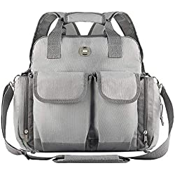 Baby Diaper Bag Backpack – Waterproof Multi-Function Nappy Bag – Large Cloth Bag to Travel with Newborn Boys & Girls – Best Cooler Tote for Women & Men – Stylish & Durable – Adjustable Straps – Gray