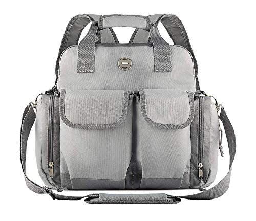 Baby Diaper Bag Backpack : Big Waterproof Nappy Bag for Mom & Dad – Stylish & Durable Baby Bag for Boys & Girls – Travel Tote – Adjustable Stroller Strap – Grey