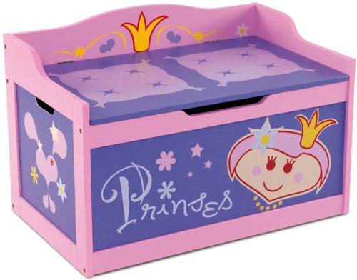 Kindertruhenbank Princess mit intergrierter Spielzeugkiste Kinderbank Kindermöbel Holzbank Spielzeugtruhe
