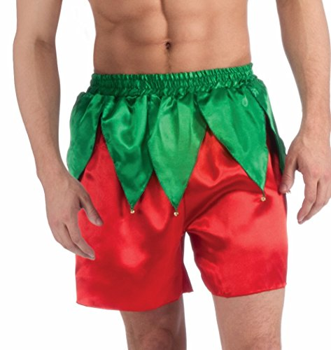 Forum Men's Elf Boxer Shorts, Red/Green, One Size Adult Sexy Christmas Elf