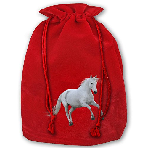 (XBUEQ Drawstring Gift Bags White Horse Santa Pouch For Gifts Packaging Reusable Pouches)