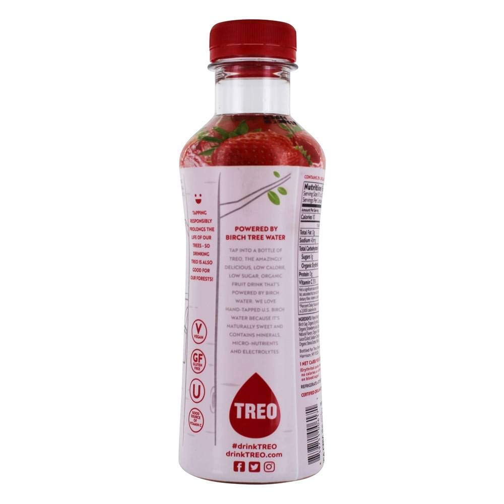 Treo Water Brch Strawberry Organic 16 oz