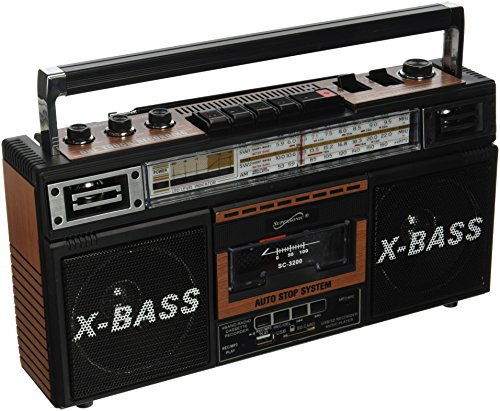 SuperSonic Retro Collection Boom Box with AM/FM/ SW-1 - SW2 4-Band Radio and Cassette to MP3 Converter,SC-3200 (Wood)