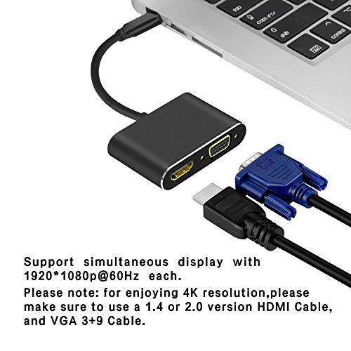DUTOP 2 in 1 USB-C to HDMI Adaptor USB Type-C to VGA Converter Port and HDMI Cable for Macbook8/9/10,MacbookPro13,MacbookPro14,iMac18,Matebook,Notebook,Air12,ThinkPadX1,Lenovo,Huawei,iphone8 and More by DUTOP
