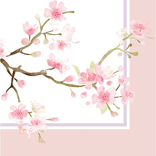 - Cherry Blossom Paper Cocktail Napkin Set of 20-5 x 5 Inches