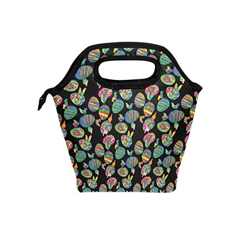 Fuiyi Miyi Insulated Lunch Box Rainbow Rooster And Egg lightweight Reusable Picnic Lunch Tote Bag for Work and School