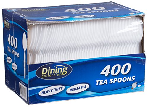 Dining Collection Plastic Teaspoons, White by Dining Collection