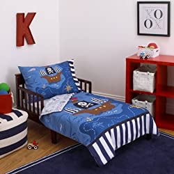 L&M 4 Piece Kids Blue Brown Pirate Toddler Bed Set, Black White Striped Bedding Nautical Coastal Beach Theme Pirates Ship Treasure Map Whale Ocean Sea Comforter Octopus Compass Island, Polyester