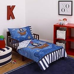 L&M 4 Piece Kids Blue Brown Pirate Toddler Bed Set, Black White Striped Bedding Nautical Coastal Beach Theme Pirates Ship Treasure Map Whale Ocean Sea Comforter Octopus Compass Island, Polyester