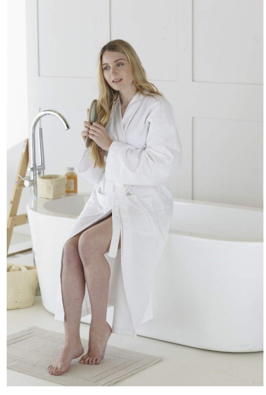Great Knot, Hotel Quality 100% Cotton Waffle 240 GSM Bath Robe Kimono (Small 110 x 110 cm, Charcoal grey)