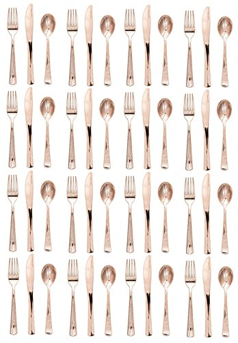 Metallic Plastic Assorted Cutlery, Rose Gold 48 count Heavyweight Plastic Forks Knives Spoons