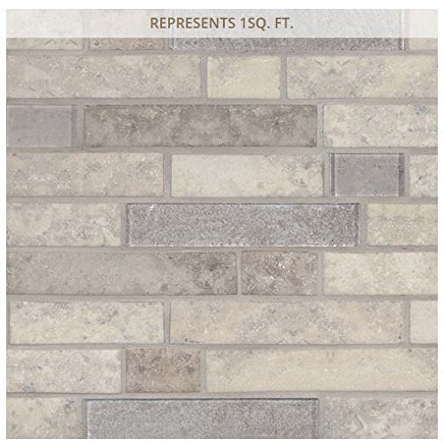 Zodia Interlocking 11.81 in. x 11.81 in. Recycled Glass Mesh-Mounted Mosaic Tile