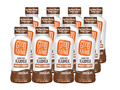 Good Karma Plant-Powered Flaxmilk, Chocolate, 10 Ounce Shelf Stable Bottle (Pack of 12) (Almond Milk Chocolate Box)