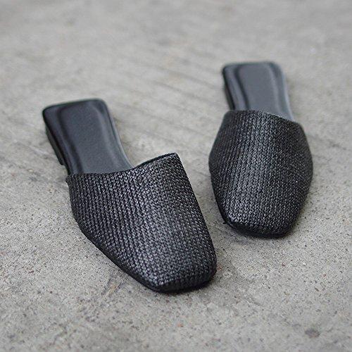 Porter Baotou Chaussures Sauvage 39 Sandales Noir DIDIDD Plates des Décontracté Chaussures Mode Paresseux FqSZU