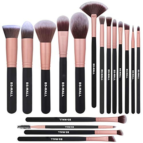 BS-MALL Makeup Brushes Premium Synthetic Foundation Powder Concealers Eye Shadow Makeup Brush Sets, Rose Golden, 17 Pcs (Bs Kit)