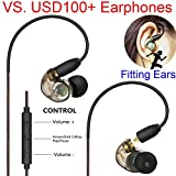 Daioolor EP187 Gray Compatible Shure in Ear Monitor Headphones Musician Earbuds with Remote Mic and Volume Control for Stage on Off, Singer (Black)