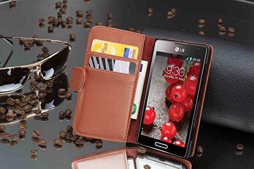 Cadorabo - Funda LG Optimus P710 L7II Book Style de Cuero Sintético en Diseño Libro - Etui Case Cover Carcasa Caja Protección con Tarjetero en BURDEOS-VIOLETA MARRÓN-COGNAC