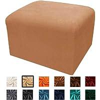 Argstar Velvet Ottoman Cover Protector, Rectangle Ottoman Slipcover, Fitted Ottoman Slipcover for Sofa Sets, Camel