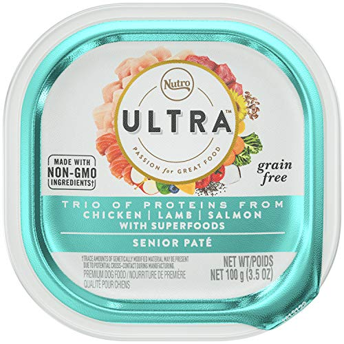 NUTRO ULTRA Grain Free Wet Dog Food Senior Paté Trio of Proteins from Chicken, Lamb, and Salmon With Superfoods, (24) 3.5 oz. Trays (Dog Nutro Salmon)
