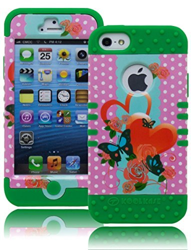 iPhone 5 Case, Bastex Heavy Duty Hybrid Protective Case - Soft Green Silicone with Pink Polka Dot and Butterfly Hard Shell Design for Apple iPhone 5, 5S, 5G