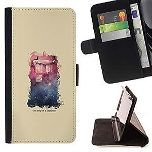 Momo Phone Case / Flip Funda de Cuero Case Cover - Espacio Galaxy Casa;;;;;;;; - Samsung Galaxy S6 Edge Plus / S6 Edge+ G928