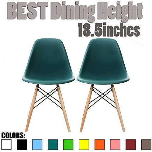 2xhome - Set of Two (2) Teal - Eames Side Chair Eames Chair Teal Seat Natural Wood Wooden Legs Eiffel Dining Room Chairs No Arm Arms Armless Molded Plastic Seat Dowel Leg