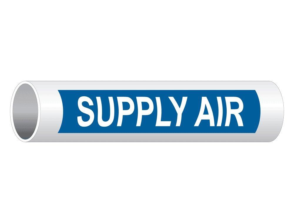 ComplianceSigns Vinyl ASME A13.1 HVAC Pipe Label, 12 x 2.5 Inch Blue 50-pack