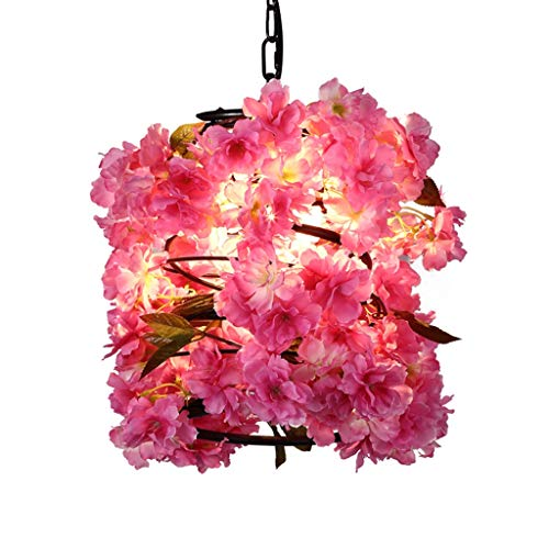 FF Chandelier Wrought Iron Chandelier Simulation Peach Chandelier Simple Modern Warm Romantic Personality Party Chandelier (Color : Pink, Size : 252525CM) ()
