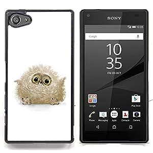 """Qstar Arte & diseño plástico duro Fundas Cover Cubre Hard Case Cover para Sony Xperia Z5 Compact Z5 Mini (Not for Normal Z5) (Baby Bird Fluffy Búho Gris Ojos Grandes lindo"""")"""