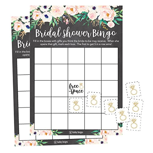 25 Rustic Vintage Pink Flower Bingo Game Cards For Bridal Wedding Shower and Bachelorette Party, Bulk Blank Squares Gift Ideas, Funny Supplies Bride and Couple PLUS 25 Wedding Ring Bingo Chip Markers ()
