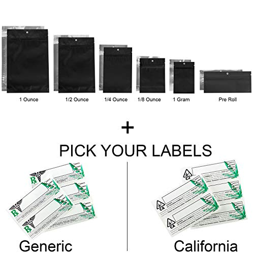 100 - Matte Black & Clear Mylar Smell Proof Bags w/Rx Labels (California Labels, 1/4 - Roll 0.25 Ounce