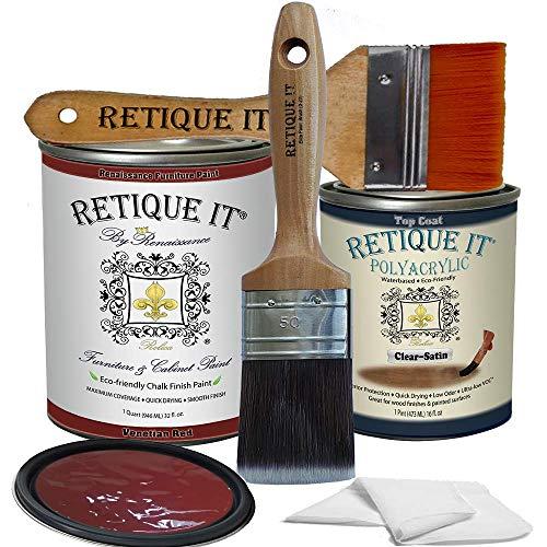 Retique It Chalk Furniture Paint by Renaissance DIY, Poly Kit, 58 Venetian Red, 32 Ounces