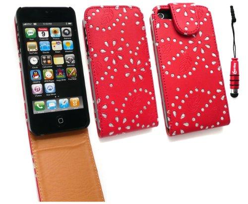 Emartbuy Pack Stylet Pour Apple Iphone 5 Diamante Rouges Premium Case Flip / Couverture / Pochette + Metallic Rouge Mini Stylus + Protecteur D'Écran Lcd