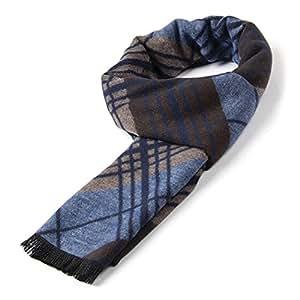 Hommes Mélange de fibre douce laine polyacrylique Gentleman chaud de tartan de luxe 30* * * * * * * * 180cm écharpe bleu
